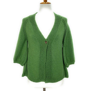Margaret O'Leary Womens Cardigan Sweater S Green
